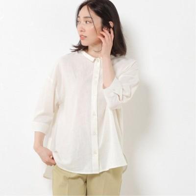 綿麻チビ衿6分袖ワイドシャツ オフホワイト M L