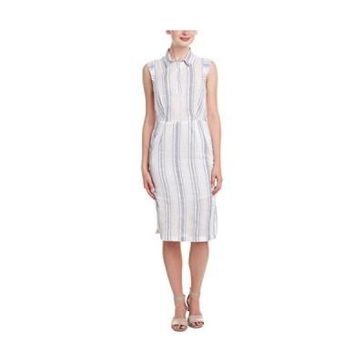 オリーブ & オーク レディース Collared ストライプ Midi ドレス, ホワイト/Light ブルー, スモール(海外取寄せ品)