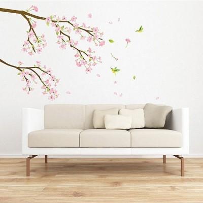 ウォールステッカー 壁 木 梅の花 貼ってはがせる のりつき 壁紙シール ウォールシール 植物 木 花 アジアン リメイクシート