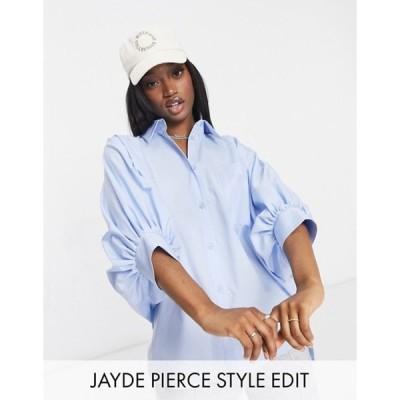 エイソス レディース シャツ トップス ASOS DESIGN oversized cotton shirt with 3/4 volume sleeves in blue