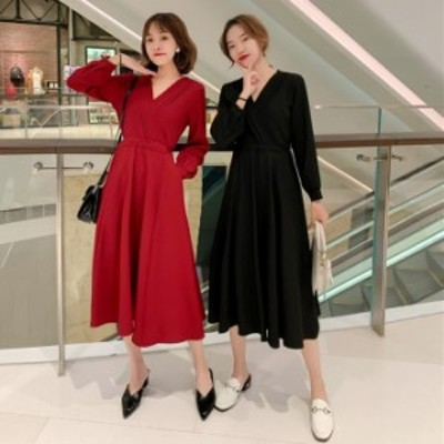 ドレス ワンピース 韓国 ファッション レディース フレアロングワンピース vネック カシュクール ワンピース 春服 レディース 長袖 ロン