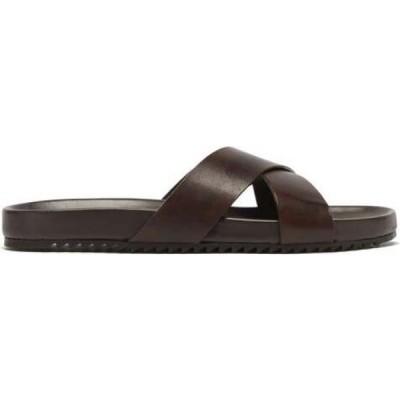 グレンソン Grenson メンズ サンダル シューズ・靴 Carson crossover leather slides Dark brown