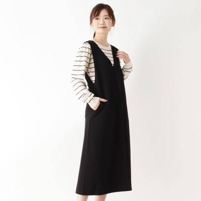ピンクアドベ pink adobe 【WEB限定LLサイズあり】【セット】ニット付きジャンパースカート (ブラック×ボーダー)