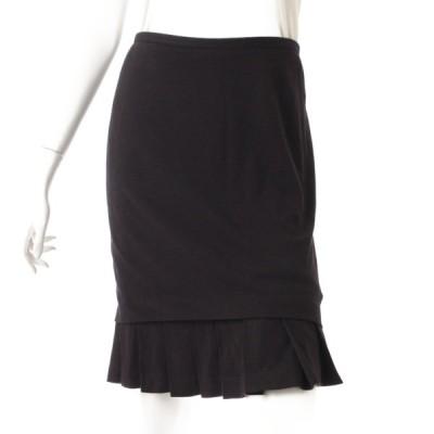 【エルメス】Hermes ヴァージンウール フリル スカート ブラック 34 【中古】【正規品保証】41260