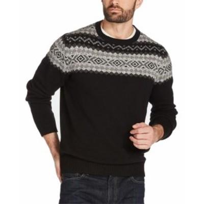 Weatherproof ウォータープルーフ ファッション トップス Weatherproof Mens Sweater Black Size 2XL Geo Crewneck Pullover Knit