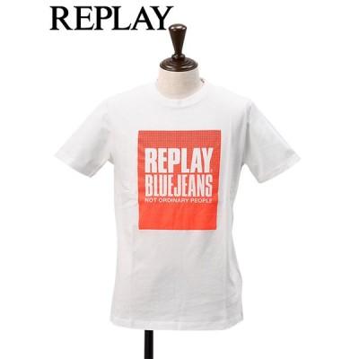 リプレイ REPLAY クルーネックTシャツ メンズ 半袖カットソー クラッシュ加工 ロゴプリント ホワイト 国内正規品 でらでら 公式 ブランド