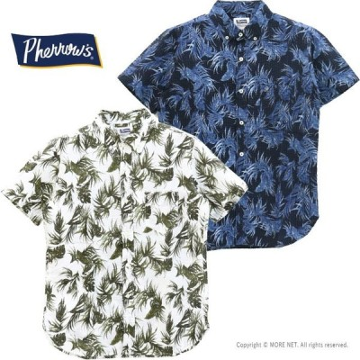 フェローズ PHERROW'S リーフ柄シアサッカーボタンダウンシャツ 20S-PBDS3 メンズ 日本製 半袖/返品・交換不可/SALE セール