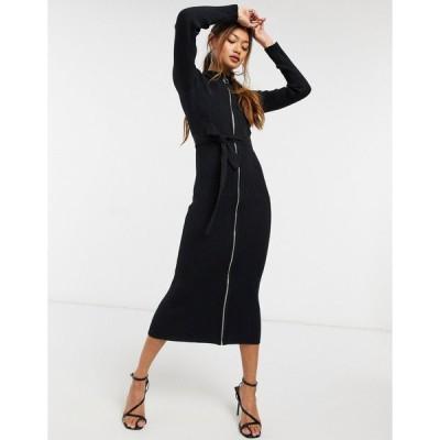 エイソス ミディドレス レディース ASOS DESIGN knitted dress with zip through detail in black エイソス ASOS ブラック 黒