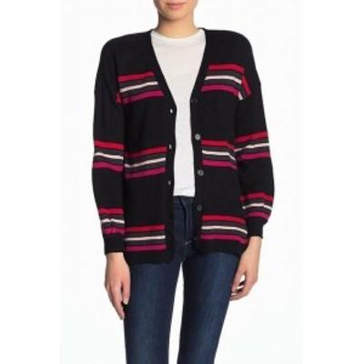 ファッション トップス Democracy NEW Black Womens Size Small S Striped Cardigan Sweater