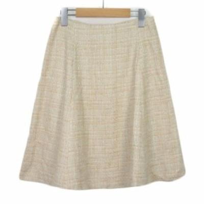 【中古】ビス ViS スカート フレア ツイード ラメ M ベージュ アイボリー レディース