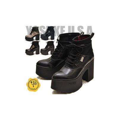 ストレッチ素材の厚底ブーツ レディース ヨースケ YOSUKE 靴 ※(予約)は3営業日内に発送