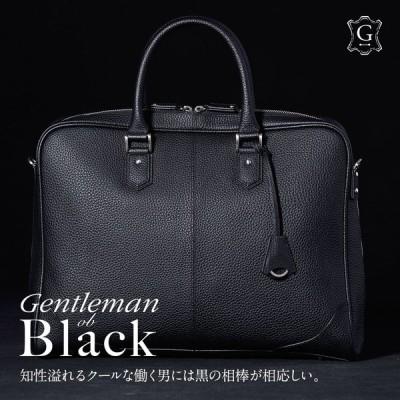 ビジネスバッグ 本革 メンズ ブリーフケース シュリンク レザー バッグ 牛革 大きめ Mens 通勤 シンプル 鞄 A4 B4 保護性の強いシュリンクレザー GA003 GOLDMEN