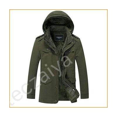 xzbailisha Men's Thick Warm Winter Down Coat Long Faux Fur Collar Parka Fleece Cotton Coat Jacket Parka Army Green並行輸入品