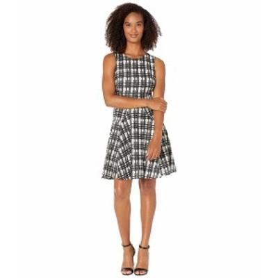 トミー ヒルフィガー レディース ワンピース トップス Grid Lace Fit-and-Flare Dress Ivory/Black