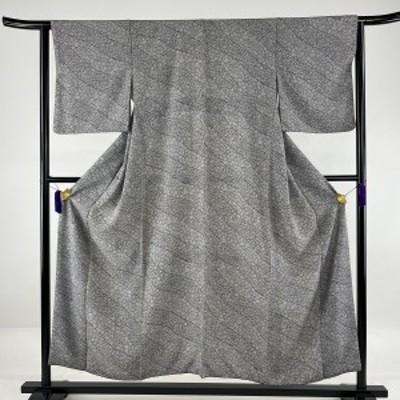 小紋 美品 優品 斜縞 葉柄 黒灰 袷 153.5cm 63cm S 正絹 中古