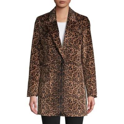 コンテキスト レディース コート アウター Leopard-Print Faux Fur-Trim Blazer Camel Multi