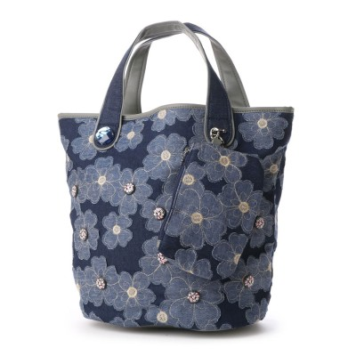 【雑誌掲載商品】サボイ SAVOY デニム地に花柄を合わせたバッグ (ブルー)