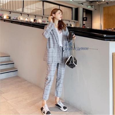 セットアップ ビジネス セレモニー 大人 カジュアル 上品 スーツ フォーマル チェック 着痩せ 通勤 スーツジャケット パンツスーツ レディース 2点セットb