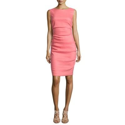 ニコルミラー レディース ワンピース トップス Sleeveless Ruched Linen-Blend Dress