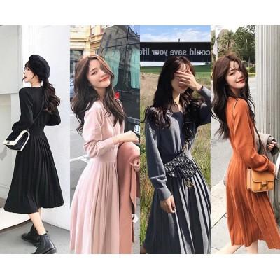 韓国ファッション長袖セーターの女性のドレス