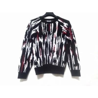 スンクーパリ suncoo paris 長袖セーター サイズT2 レディース 新品同様 - 黒×白×レッド クルーネック【中古】20200910