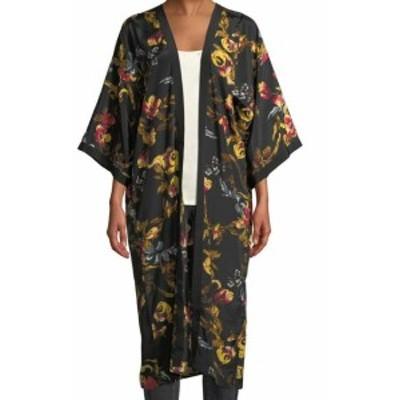 Renaissance ルネサンス ファッション 衣類 Vince Camuto NEW Black Renaissance Floral Print One Size Kimono Jacket