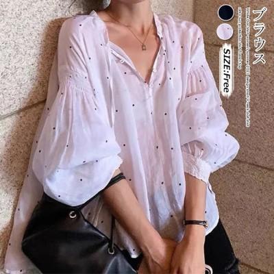 1FD207   白いブラウスの女性2021夏のデザイン感vネックの日焼け止めシャツのフランス風の上着AX173