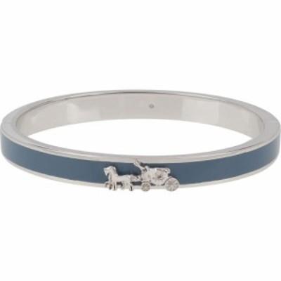 コーチ COACH レディース ブレスレット バングル ジュエリー・アクセサリー Horse and Carriage Enamel Hinged Bangle Blue/Rhodium