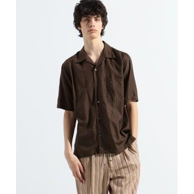 【トゥモローランド】 サンドウォッシュビエラ ショートスリーブオープンカラーシャツ メンズ 45キャメル XS TOMORROWLAND