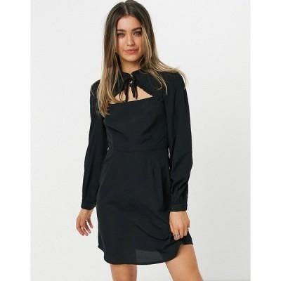ニュールック レディース ワンピース トップス New Look tie neck ruffle detail mini dress in black Black