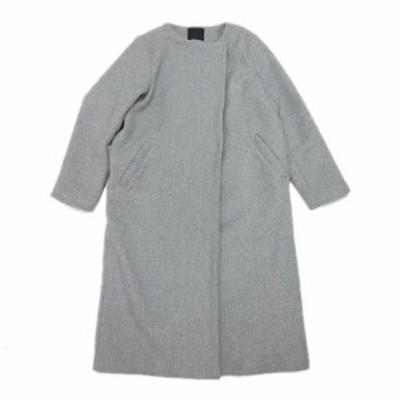 【中古】ケイビーエフ KBF アーバンリサーチ ノーカラーコート メルトン ロング ジャケット コート ONE グレー
