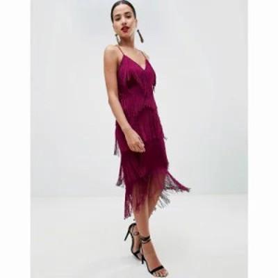 エイソス ボディコンドレス fringe mesh strappy midi bodycon dress Purple