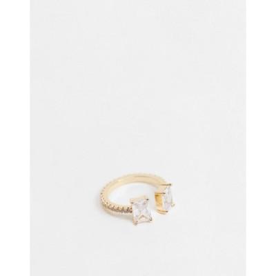 エイソス レディース リング アクセサリー ASOS DESIGN ring with baguette cubic zirconia stones in gold tone Gold