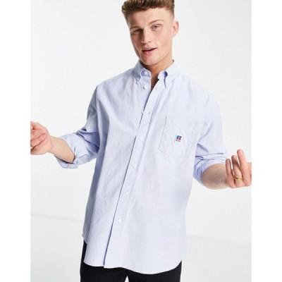 ヒューゴ ボス BOSS メンズ シャツ トップス x Russell Athletic Nambeth logo shirt in blue ブルー