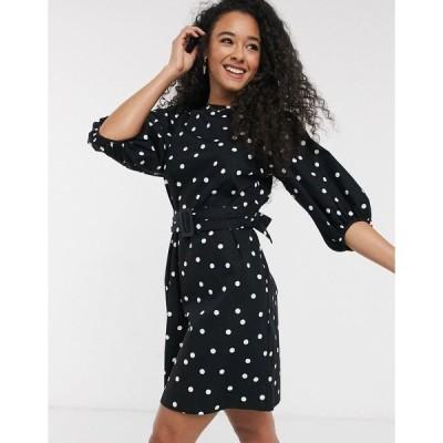 ニュールック レディース ワンピース トップス New Look poplin belted mini dress in polka dot Black