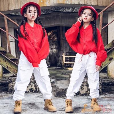キッズ ダンス衣装 セットアップ ヒップホップ HIPHOP 長袖 ジャケット ズボン 女の子 チア ガールズ 子供服 ステージ衣装 練習着 体操服