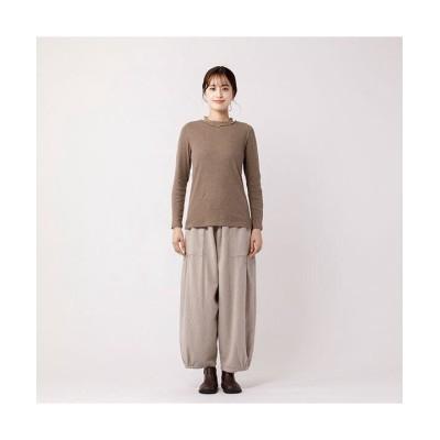 【アールエムストア】 26955 スパンガーゼフリルレース衿Tシャツ レディース モカ M RM STORE