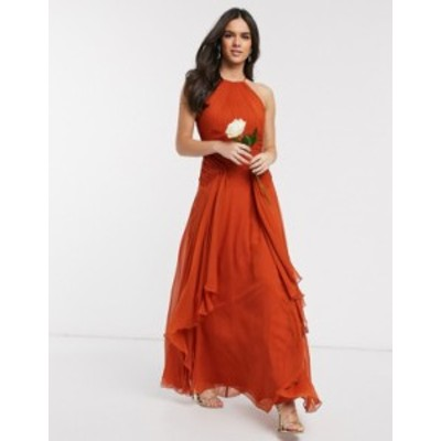 エイソス レディース ワンピース トップス ASOS DESIGN Bridesmaid pinny maxi dress with ruched bodice and layered skirt detail Rust