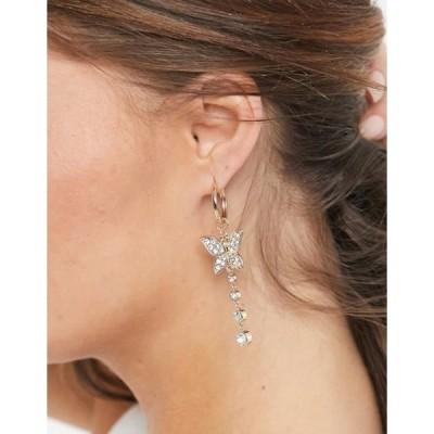 エイソス レディース ピアス・イヤリング アクセサリー ASOS DESIGN hoop earrings with crystal butterfly drop in gold tone