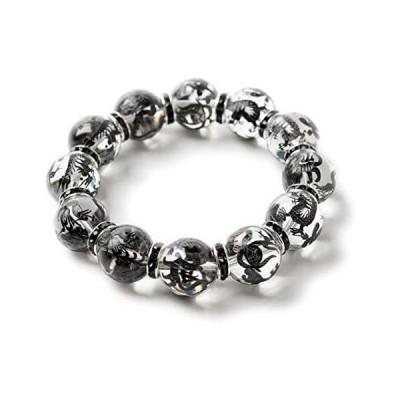 石輝 黒彫り四神獣水晶 16mm ブラックロンデル ブレスレット メンズ 数珠 パワーストーン [b560]
