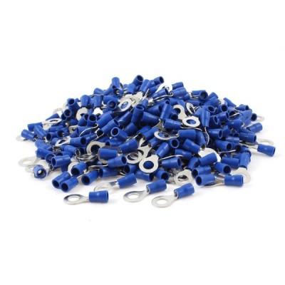 uxcell プレ絶縁リングターミナル PVC 金属 シルバートーン ブルー 1000個入り