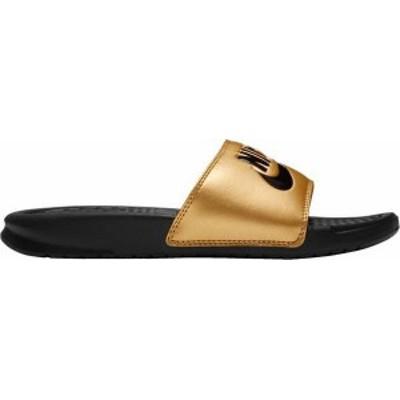 ナイキ レディース サンダル シューズ Nike Women's Benassi Just Do It Slides Black/Black/Metallic Gold