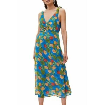 Topshop トップショップ ファッション ドレス TopShop Womens Dress Blue Size 6 Shift V-Neck Printed Tie Shoulder