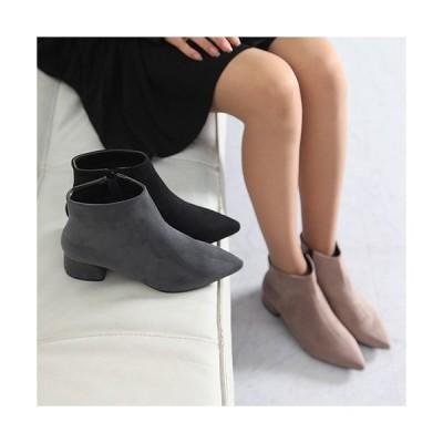 ブーティ ブーティー ポインテッドトゥ チャンキーヒール スエード調 ブーティ レディース ファッション レディース 靴 婦人靴 30代 40代