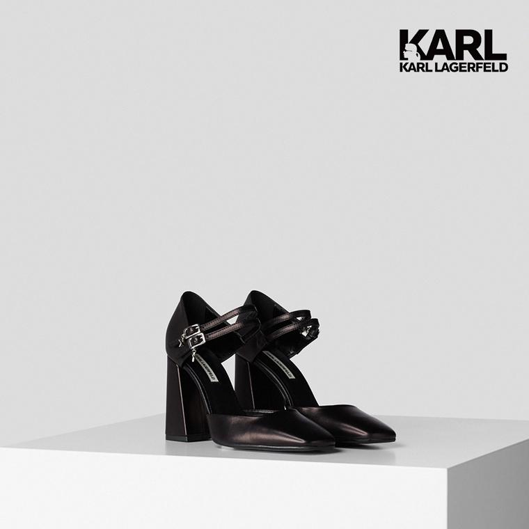 【KARL LAGERFELD】PYRAMIDE雙繫帶造型粗跟鞋-黑 (原廠公司貨)
