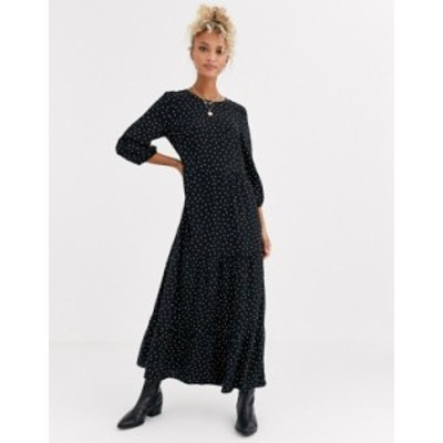 ニュールック レディース ワンピース トップス New Look tiered midaxi smock dress in polka dot Black pattern