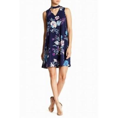 Angie アンジー ファッション ドレス Angie Womens Floral Print Knit Choker Blue Size Medium M Shift Dress