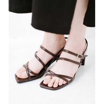 【ハコ】 玄関でこれを履くだけでコーデが女っぽく&今っぽくまとまる 華奢な紐のヒールサンダル レディース ブラウン 4 haco!