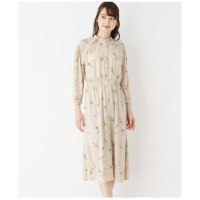【洗濯機洗いOK】インナースカート付き 花柄スタンドワンピース