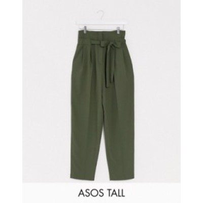 エイソス レディース カジュアルパンツ ボトムス ASOS DESIGN Tall tailored tie waist tapered ankle grazer pants Navy